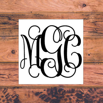 Script Monogram Decal | Fancy Monogram Decal | Initial Decal | Vinyl Sticker | Vinyl Decal | Car Monogram Decal | Car Monogram Sticker | 005