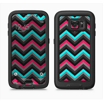 The Sharp Pink & Teal Chevron Pattern Full Body Samsung Galaxy S6 LifeProof Fre Case Skin Kit