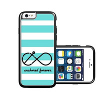 RCGrafix Brand Anchored-forever Yellow & Grey Stripes white iPhone 6 Case - Fits NEW Apple iPhone 6