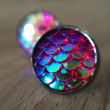Mermaid Scales Stud Earrings Iridescent  Dark Pink & Blue Rainbow Coloured Shimmer *Nickel Free