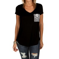 Sale-black Tribal Pocket Tee