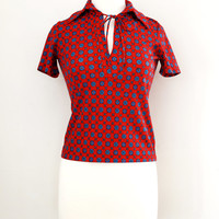 Vintage 70s Bonwit Teller Peekaboo Bow Top - Women's Collared Shirt - Tie Neck Blouse - Size Small