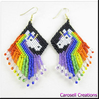 Rainbow Unicorn Beadwork Dangle Seed Bead Earrings