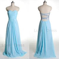 Charming Blue Sweetheart Chiffon Prom Dress Evening Dress