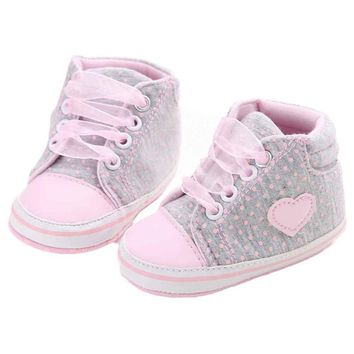 Baby Girls High Top Canvas Shoes Gray and Pink Polka Dot Heart Sneakers