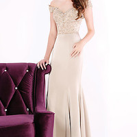 Long Off the Shoulder Sweetheart Prom Dress by Mon Cheri Evenings