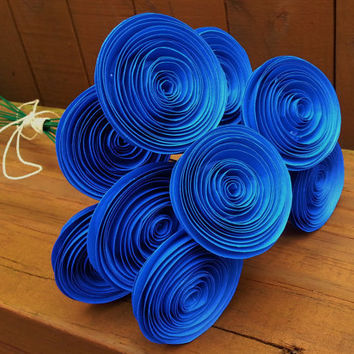 12 Paper Flowers in Royal Blue - Handmade Rolled Paper Flower Bouquet for Brides, Bridal Bouquet, Toss Bouquet, Weddings, Showers