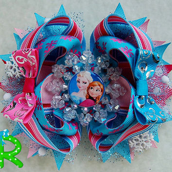 Elsa & anna hair bow, disney Ott Bow, frozen Boutique bow, Elsa Stacked bow for girls