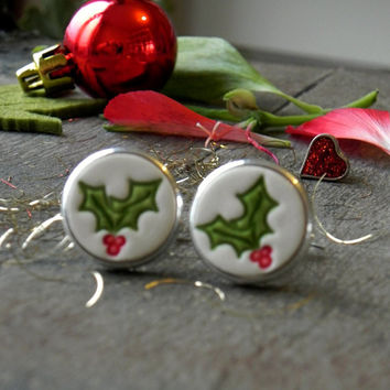 Holly Ceramic Cuff Links, Unisex Christmas Gift Idea, Novelty Gift, Porcelain CuffLinks, Father Boss Coworker Gift, Red Green Holly Pottery