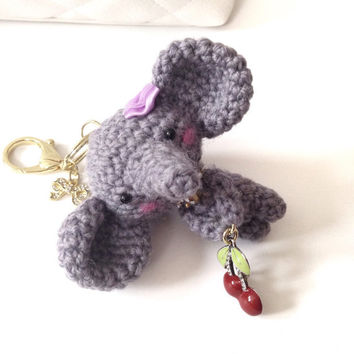 Handmade Crochet Bag Charm Crochet Elephant Key Chain Amigurumi Elephant Cherry Charm Gray Elephant Kawaii Accessories Girls Stuff Gift deas