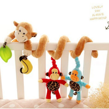 Happy Monkey baby bed crib Hanging Bell Newborn Baby Educational Rattles Mobile toys for 3-12 months Plush toys