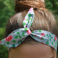 Rose Dolly Bow. Grey Wire Headband. Rose Print  Hair Wrap. Twist Headscarf.