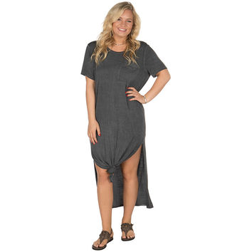 Ladies Grey Maxi Tee Dress With Chest Pockets