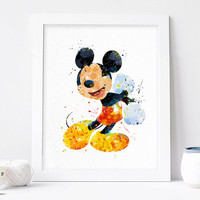 Mickey Mouse - Watercolor, Art Print, Home Wall decor, Kids Gift, Disney Wall Art, Disney Poster