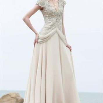 Stunning Off White Low-V-Neck Bridesmaid Party Dress 80881 from LocascioFashion