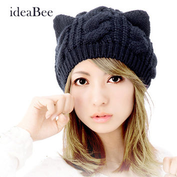 ideaBee New Hot  Fashion Lady Girl Winter Warm Knitting Wool Cat Ear Beanie Crochet Braided Ski Hat Cap Women's Knitted Wool Hat