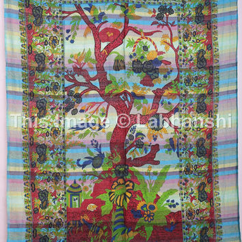 Vintage Tree Of Life Tapestry , Hippie Tapestries , Bohemian Boho Coverlet , New Age Dorm Sheet ,Wall Tapestries, Tapestry Wall Hanging,