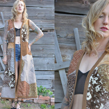 70s Avant Garde Animal Patchwork Custom Mountain Artisan Cape Jacket