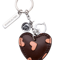 Brown Heart Hand Painted Leather Keychain-Tan Hearts