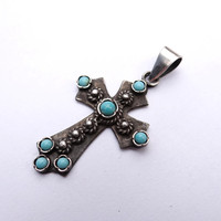 Handmade Turquoise Cross Jewelry Sterling Silver Cross Armenian Cross Pendant Solid Silver Cross Necklace Silver Jewelry Natural Stone Cross