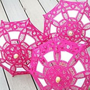 Vintage Handmade Small Lace Fabric Embroidered Parasol Flower Girl Umbrella Party Baby Shower Decorative(More Colors)
