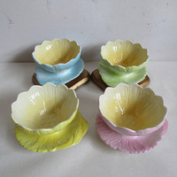 Vintage Royal Winton Grimwades Lotus Bowls Set of 4 1930s-40s Pastel Serving Dishes Yellow Green Pink Flower Dessert Dishes