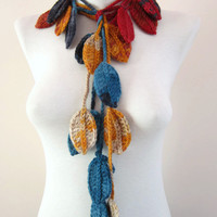 Colorful Crochet Scarf,Crochet Leaf Scarf,Flower Lariat Scarf