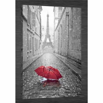 Original New Home Decor Art HD Print Landscape Oil Painting on Canvas,N569. Romantic Paris Eiffel Tower,Red Umbrella
