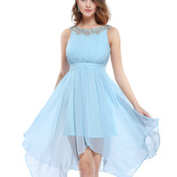 Homecoming Dresses 5002 Women New Arrival 2016 Fashion Round Neck White Ever Pretty Hi-low Short Cheap Sexy Cocktail Dress