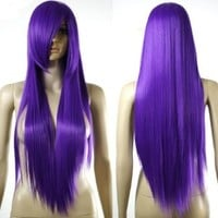 HealthTop Long Purple Straight Frederica Bernkastel Heat Resistance Cosplay Wig Anime Show & Party Wig& Performance Hair Full Wigs + Free Cap