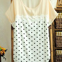 Cute Dot Blouse with Lace Insert for Summer