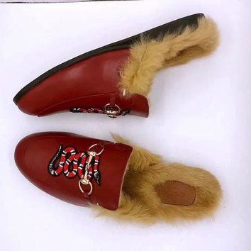 GUCCI Women Fashion Winter Rabbit Fur Casual Slippers Shoes