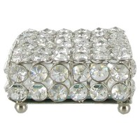 "4"" Square Clear Crystal Jewelry Box 