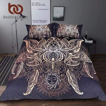 BeddingOutlet Lotus Bedding Set Queen Size Flower Bohemian Duvet Cover Sun Print Boho Bed Set King Black Multi Sizes Bedspreads