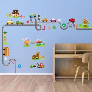 Cartoon Car Tree Traffic Road Wall Sticker Removable Nursery Art Boy Decal Mural