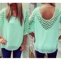 FASHION HOLLOW OUT LOOSE CHIFFON SHIRT