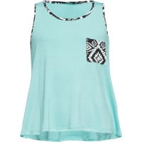 Full Tilt Tribal Print Gils Pocket Tank Aqua  In Sizes