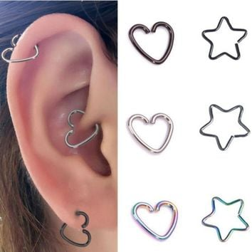 10 Pcs Stainless Steel Heart Ring Piercing Hoop Earring Helix Cartilage Tragus Daith