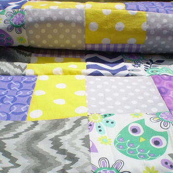 Baby blanket,Unisex baby blanket,Patchwork crib blanket,owl baby quilt,grey,yellow,purple,lavender,mint green,chevrons,baby bedding,nursery