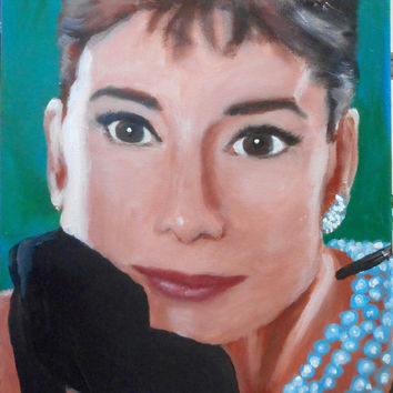 Audrey Hepburn Breakfast at Tiffany's / original acrylic on canvas painting / hand painted / art / artwork / wall  home decoration