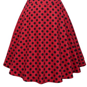 Streetstyle  Casual Polka Dot Retro Style Flared Midi Skirt