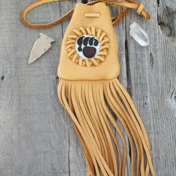 Fringed talisman bag , Beaded bear paw totem , Fringed medicine bag