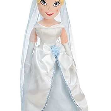 "Licensed cool 21"" PRINCESS CINDERELLA PLUSH WEDDING Toy Doll BLUE GOWN & VEIL Disney Store NEW"