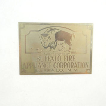 Vintage Buffalo Fire Appliance Corporation Metal Plate from 1940s