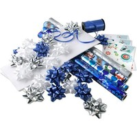 Christmas Blue and Silver Gift Wrap Foil and Paper and Accessories Kit - Walmart.com