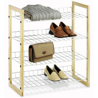 Walmart: Whitmor Natural Wood and Chrome 4 Tier Closet Storage Shelves
