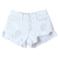 ROMWE | Ripped High Waist White Shorts, The Latest Street Fashion