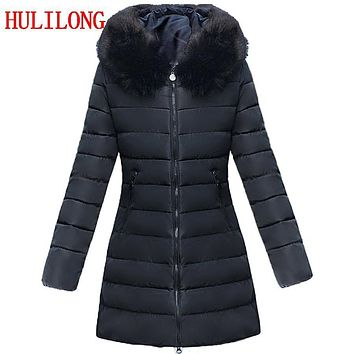 HLL Plus Size 7XL Women's Winter Jacket 2017 Fur Collar Thick Warm Parka For Women Winter Jacket Coat Female Quilted Coat