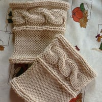 Cross Cable, Lace Color, Hand Knitted Boot cuffs, Boot socks, Leg Warmers, Boot Toppers