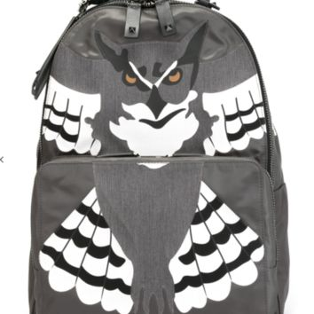 VALENTINO GARAVANI Owl Mens Gray Leather Backpack Made in Italy RETAIL $4000 a1
